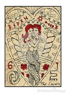 Lotus Tarot Yes No Les Amants La Carte De Tarot Illustration De Vecteur