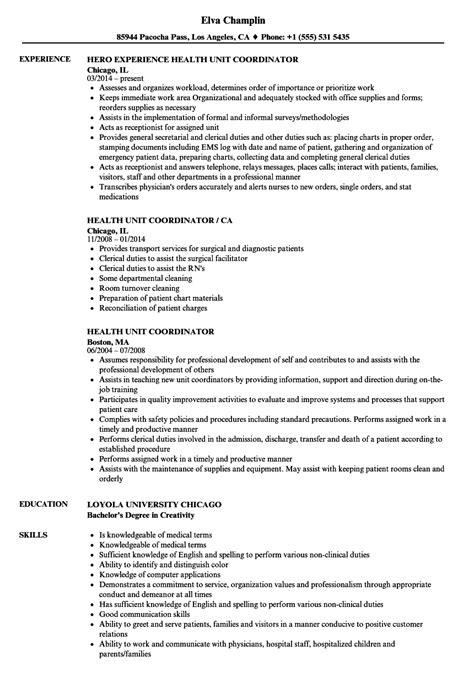 Health Unit Coordinator Sle Resume by Health Unit Coordinator Resume Sles Velvet