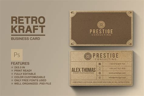 craft business free card template retro kraft business card business card templates