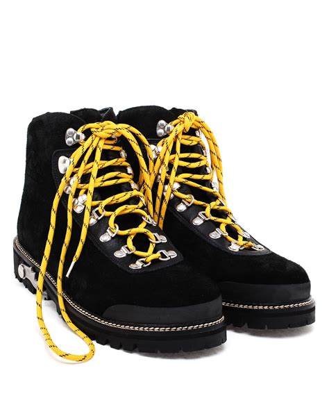white c o virgil abloh suede hiking boots in black lyst
