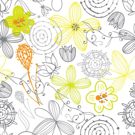 free vector floral doodle doodle flowers drawing vector pattern 09 vector