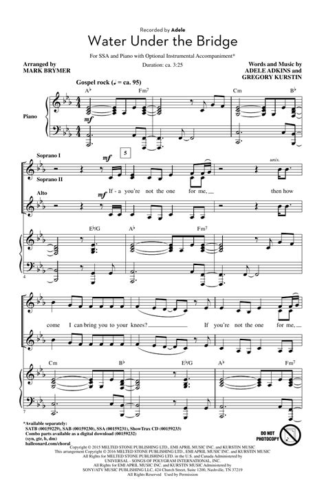 water under the bridge by adele easy guitar tab guitar water under the bridge arr mark brymer choral ssa sheet