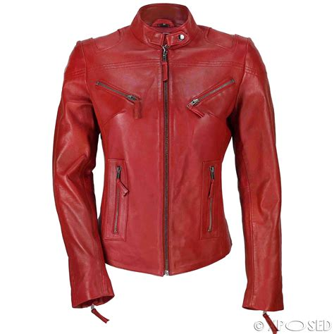 red motorcycle jacket ladies womens genuine real leather vintage slim fit red