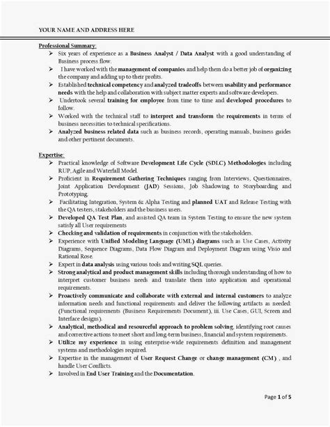 Best Resume Template For Business Analyst H1b Sponsoring Consultancies In The United States Business Analyst Resumes