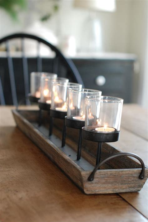 Centerpieces For Dining Room Tables Everyday by Rustic Wood Centerpiece Votive Holder