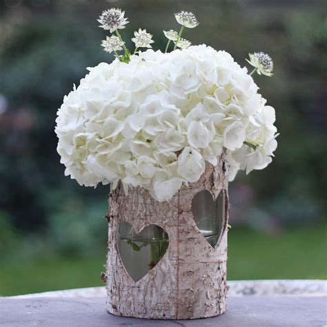 Wooden Vases Wedding by Wooden Birch Bark Vase Or Lantern By The Wedding Of