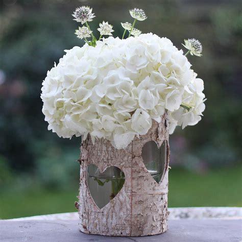 Birch Wood Vases by Wooden Birch Bark Vase Or Lantern By The Wedding Of