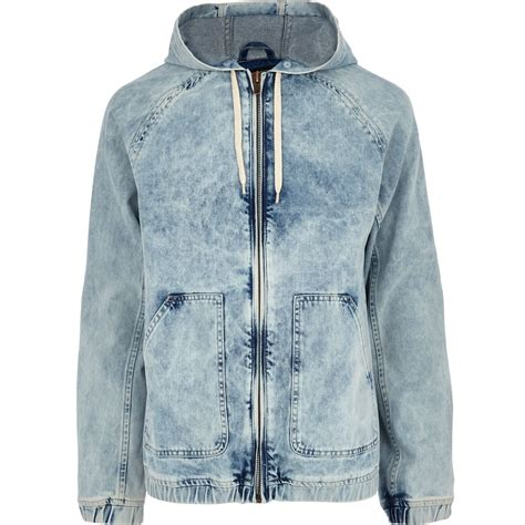 Mens Light Wash Denim Jacket by River Island Light Acid Wash Hooded Denim Jacket In Blue