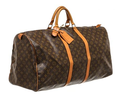 louis vuitton monogram canvas leather keepall  cm duffle