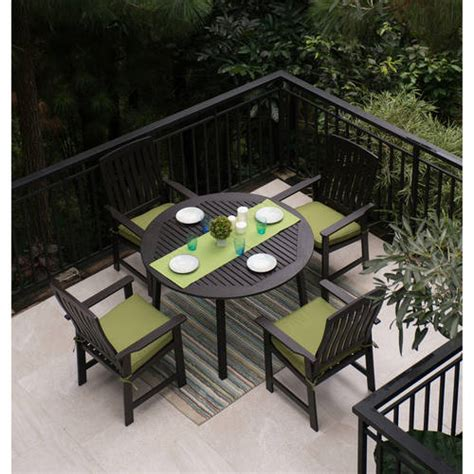 Wooden Patio Dining Sets Delahey 5 Wood Patio Dining Set Brown Finish Seats 4 Walmart