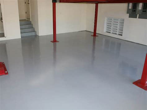 painting concrete floor tiles with white paint color in garage ideas
