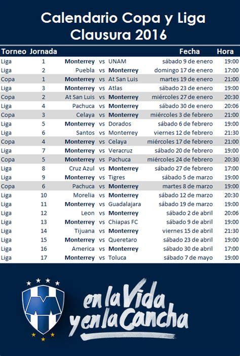 Calendario Liga Mx Monterrey Calendario Rayados Clausura 2016 Y Copamx Apuntes De Futbol