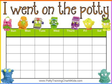trash pack potty training charts