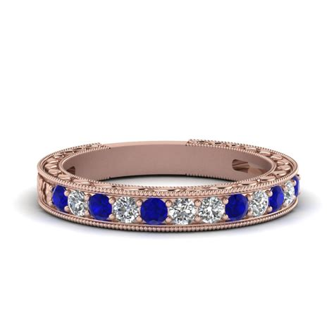 vintage pave wedding band with sapphire in 14k