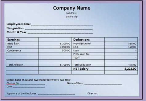 salary receipt template excel 41 excellent salary slip payslip template exles thogati