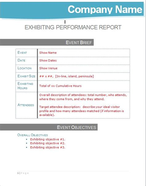 Post Show Exhibiting Performance Management Report Template Tradeshow Turnaround Senior Executive Performance Review Template