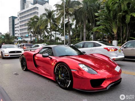 porsche 918 red chrome red porsche 918 spyder turns heads on miami beach