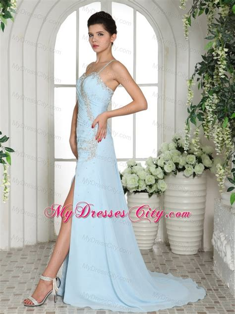 light blue spaghetti prom dress light blue spaghetti straps beaded high slit prom dress