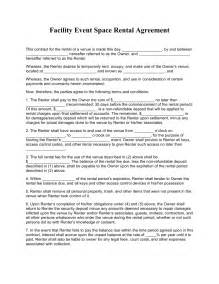 Space Rental Agreement Template Free Facility Event Space Rental Agreement Template Pdf