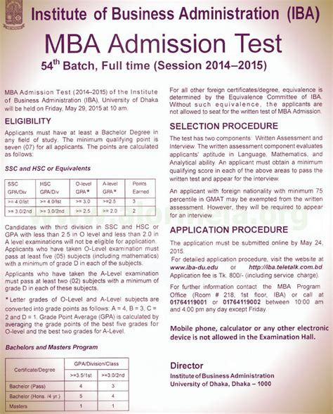 All Mba Entrance Exams List by Dhaka Du Iba Mba Admission Circular