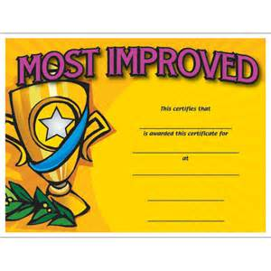 Most Improved Certificate Template by Most Improved Colorful Certificate Jones School Supply