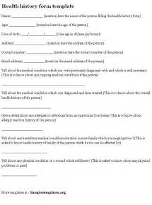 health history form template health history form sle of health history form