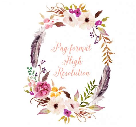 watercolour flower wreath with feather individual png files