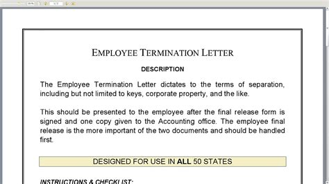 Employee Termination Letter Youtube Employee Termination Template