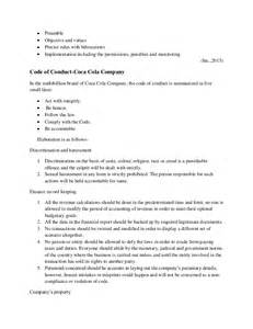 company code of conduct template business ethics coca cola