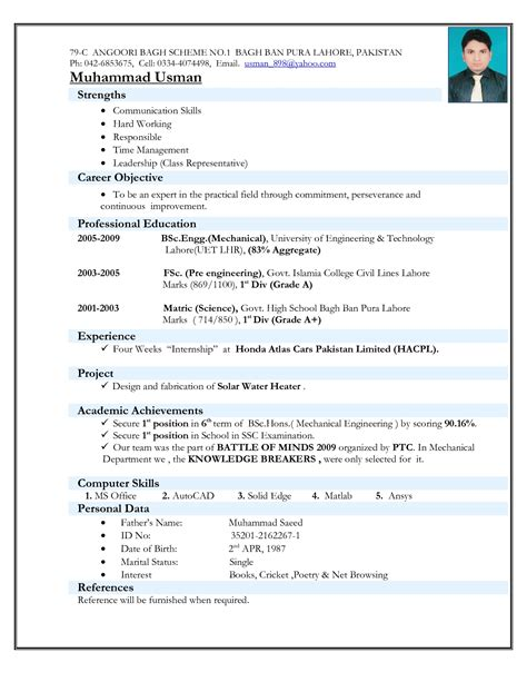 resume format for mechanical engineering freshers it