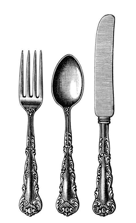 Free Vintage Image Fork Spoon Knife Cutlery Clip Art   Old Design Shop Blog