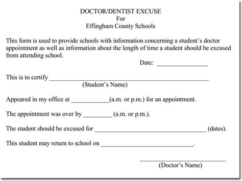 dentist note for school template doctor s note templates 28 blank formats to create doctor s excuse