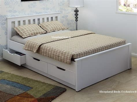 double bed frame with storage white wooden storage bed frame with drawers 4ft6 double