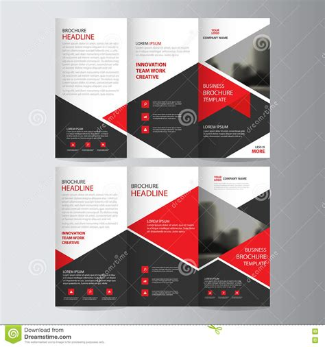 brochure template red red triangle business trifold leaflet brochure flyer