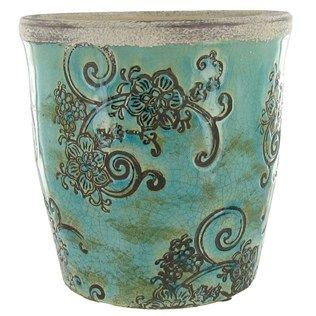 6 1 2 quot blue green terra cotta planter with etched design