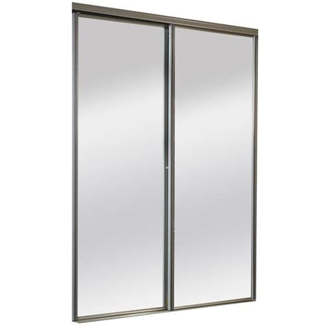Interior Doors With Mirrors Shop Reliabilt Mirror Panel Sliding Closet Interior Door Common 60 In X 80 In Actual 60 In X