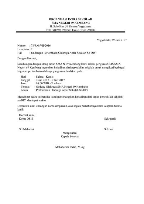 contoh surat undangan resmi yang sesuai kebutuhan