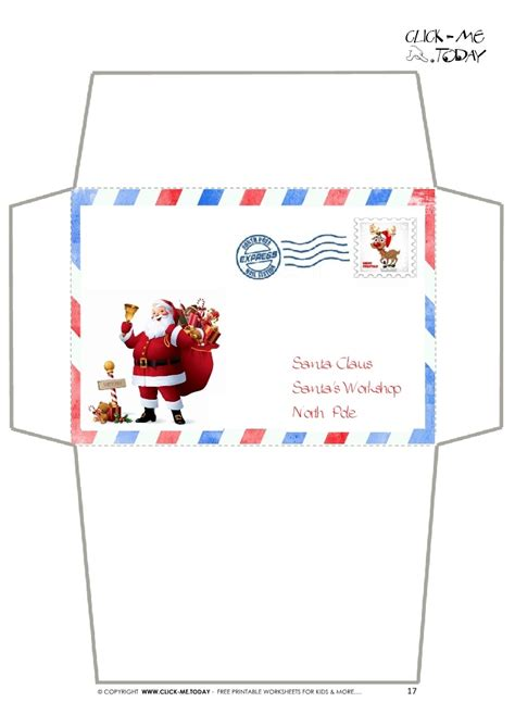 printable envelope from santa envelope for letter to santa claus craft border santa