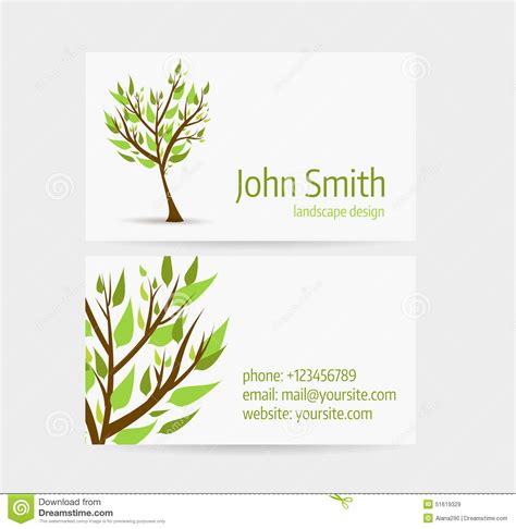 tree card template business card template stock vector image 51619329
