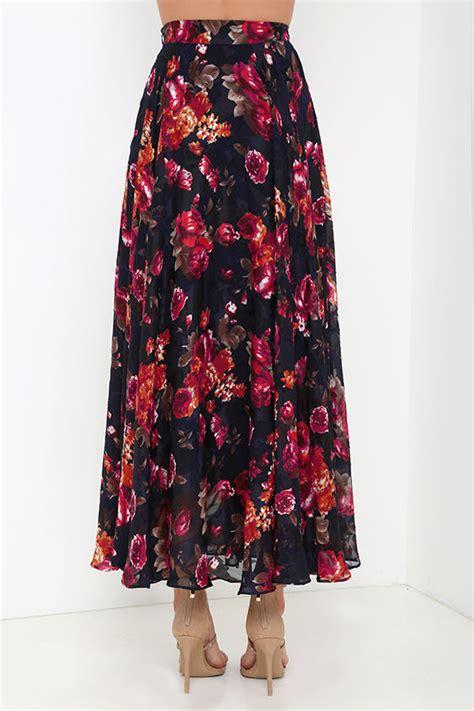 navy blue floral print skirt maxi skirt high waisted