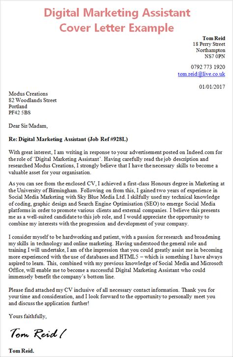 Digital Marketing Manager Cover Letter Digital Marketing Assistant Cover Letter With Work Experience
