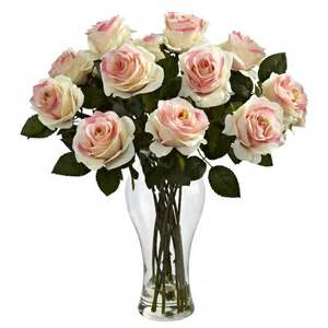 blooming light pink roses silk flower arrangement with