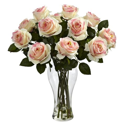 Arranging Silk Flowers In A Vase by Blooming Light Pink Roses Silk Flower Arrangement With