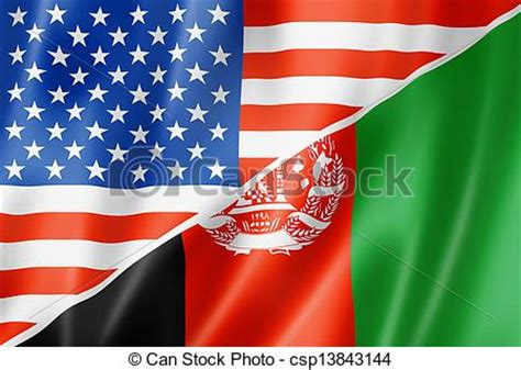 drawing of usa and afghanistan flag mixed usa and
