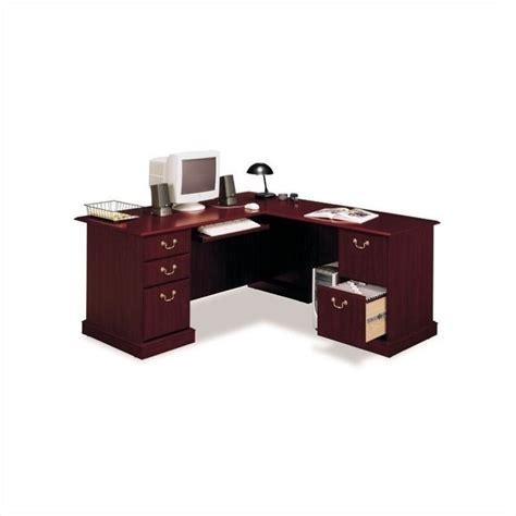 bush saratoga l desk bush saratoga l shape executive desk in harvest cherry