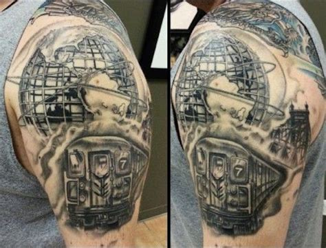 new york themed tattoo realism style new york themed black and white shoulder
