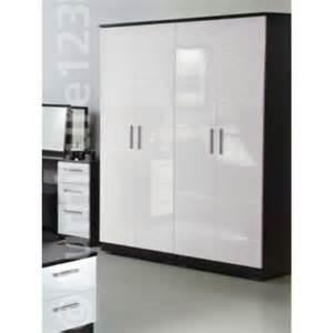 Black And White Wardrobe Welcome Furniture Hatherley High Gloss 4 Door Wardrobe In