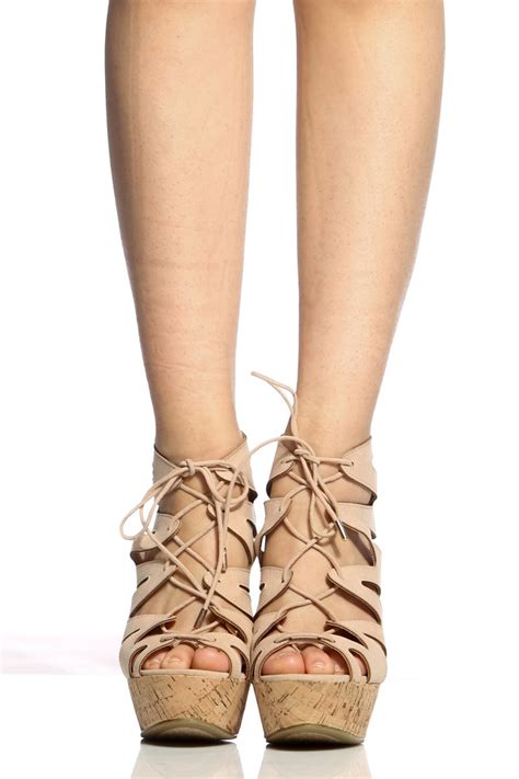 Booth Wedges faux suede cut out lace up cork wedges cicihot