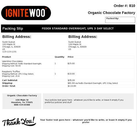 packing slip sample woocommerce pdf invoices amp packing slips