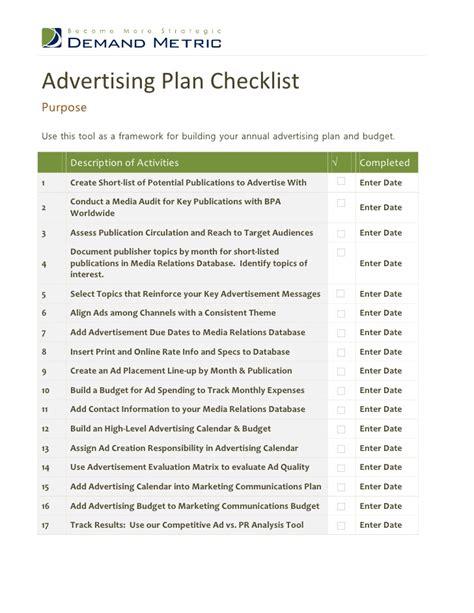 advertising plan advertising plan checklist